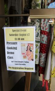 Sign for pressure cooker demo